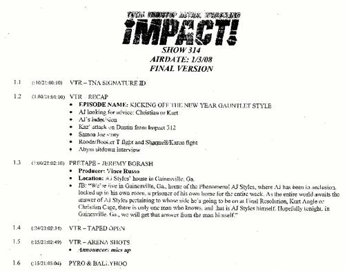 Guião de uma edição do Impact Wrestling